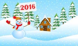 Boneco de neve que guarda um cartaz com os números 2016 no inverno ilustração stock