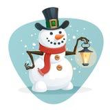 Boneco de neve que guarda uma lâmpada Foto de Stock Royalty Free