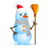 Boneco de neve que guarda a vassoura Fotografia de Stock Royalty Free