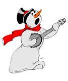 Boneco de neve que joga a guitarra ilustração stock