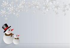 Boneco de neve que olha a neve Fotos de Stock Royalty Free