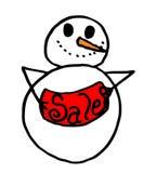 Boneco de neve que prende um sinal da venda Foto de Stock Royalty Free