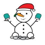 Boneco de neve que veste um chapéu de Santa Foto de Stock Royalty Free