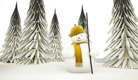 Boneco de neve rendido ilustração do vetor