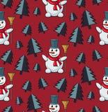 Boneco de neve sem emenda do teste padrão Imagens de Stock Royalty Free