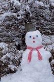Boneco de neve sob uma árvore nevado, fotografia de stock