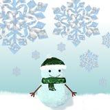 Boneco de neve vestido no tampão e no lenço feitos malha Fotografia de Stock Royalty Free