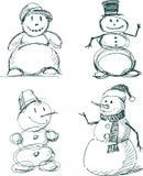 Bonecos de neve ilustração royalty free
