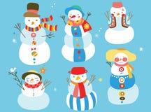 Bonecos de neve bonitos Fotografia de Stock Royalty Free