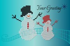 Bonecos de neve brincalhão sobre o fundo da cerceta Imagem de Stock
