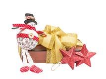Bonecos de neve, caixa de presente do Natal Fotos de Stock Royalty Free