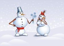 Bonecos de neve, cartão de Natal Fotos de Stock