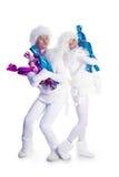 Bonecos de neve com doces Foto de Stock Royalty Free