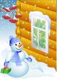 Bonecos de neve com presente Fotos de Stock Royalty Free