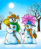 Bonecos de neve do inverno do vetor com o guarda-chuva da cor-de-rosa da vassoura Imagem de Stock Royalty Free