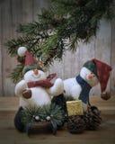 Bonecos de neve do Natal Fotografia de Stock Royalty Free