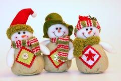 Bonecos de neve do Natal feliz Fotografia de Stock
