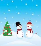 Bonecos de neve e árvore de Natal ilustração do vetor