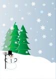 Bonecos de neve e árvores de Chrismas Imagens de Stock Royalty Free