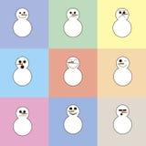 9 bonecos de neve em um fundo de quadrados coloridos Imagem de Stock