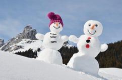 Bonecos de neve engraçados Foto de Stock Royalty Free