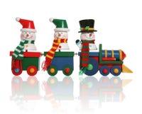 Bonecos de neve no trem Fotografia de Stock Royalty Free