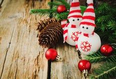 Bonecos de neve pequenos Fotografia de Stock