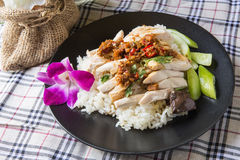 Boned, sliced Hainan-style chicken with marinated rice Stock Photography