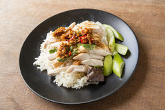 Boned, sliced Hainan-style chicken with marinated rice Royalty Free Stock Photos