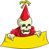 Bonehead celebrate new year party. With red cone hat Royalty Free Stock Photography