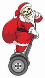 Bonehead santa riding segway. Bonehead with costume santa clause playing segway Royalty Free Stock Image