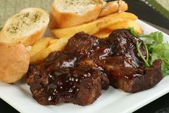 Boneless beef rib in barbecue sauce Royalty Free Stock Images
