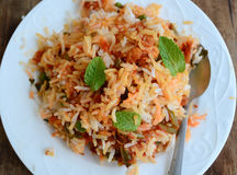 Boneless chicken Biryani. Biryani, biriani, or beriani is a set of rice-based foods made with spices, rice (usually basmati) and meat, fish, eggs or vegetables royalty free stock images