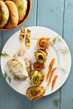 Boneless chicken with vegetables overhead Stock Photography