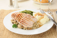 Boneless pork chops with mashed potatoes Royalty Free Stock Image