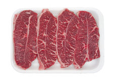 Boneless top blade steak on tray Royalty Free Stock Images