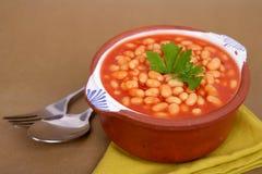 Bonen op tomaat Stock Foto