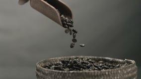 Bonen van de hand de gietende koffie van een houten lepel in mand in zwart-wit stock video