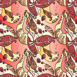 Bonenbladeren en Fruit Autumn Abstract Seamless Floral Pattern Stock Foto