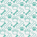 Bones And Dog Paw Seamless Pattern Abstract Ornament Pets Concept. Flat Vector Illustration Royalty Free Stock Photo