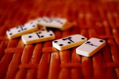 Bones of domino. On table Royalty Free Stock Photos