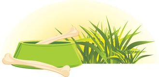 Bones in a green doggy bowl and grass. Illustration royalty free illustration