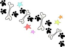 Bones and Paws. Here'a a line of bones, paws, and stars Royalty Free Stock Photography