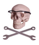 Bones and skull with glasses Stock Photo