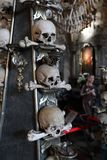 Bones, skull, two trunks, death pyramid, anything aren`t present eternal near the moon. stock images