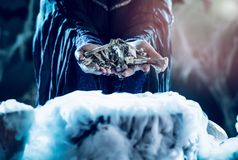 Bones In Witch`s Hands Royalty Free Stock Photos