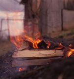 Bonfire. At a campsite in russia Royalty Free Stock Photography