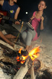 Bonfire. People fun at beach with bonfire at night time royalty free stock image