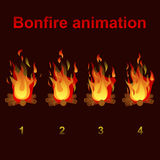 Bonfire animation sprites, for game design Stock Photos