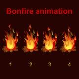 Bonfire animation sprites, for game design. Bonfire animation sprites, vector flame video frames for game design Stock Photos